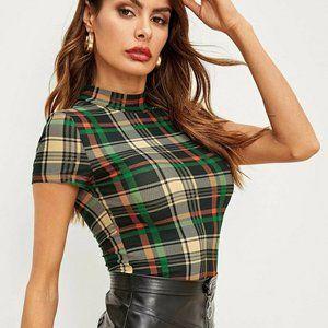NWT Womens Plaid Mock Neck Bodycon top shirt short